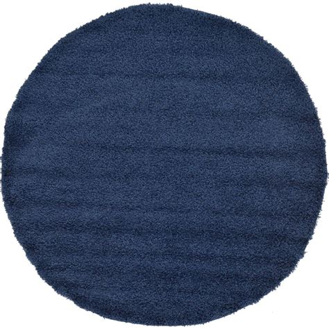Tiger Faucets Unique Loom Solid Shag Sapphire Blue 6 Ft X 6 Ft Round