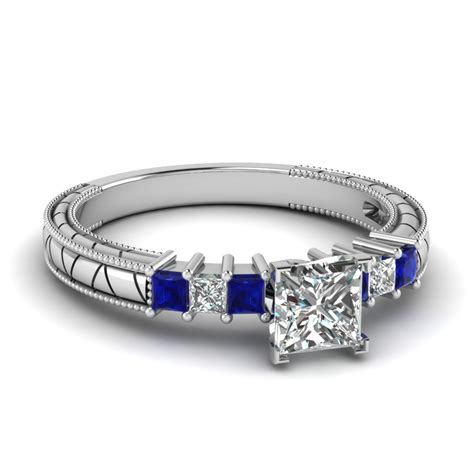 Blue Sapphire 7 40 Ct princess cut vintage engagement ring with