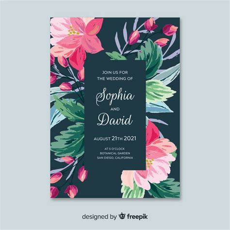 colorful hand painted floral wedding invitation template