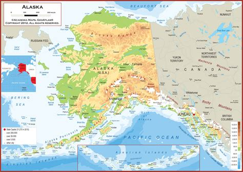 us map alaska state alaska physical state map