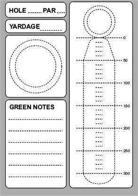 free printable blank golf yardage templates new calendar
