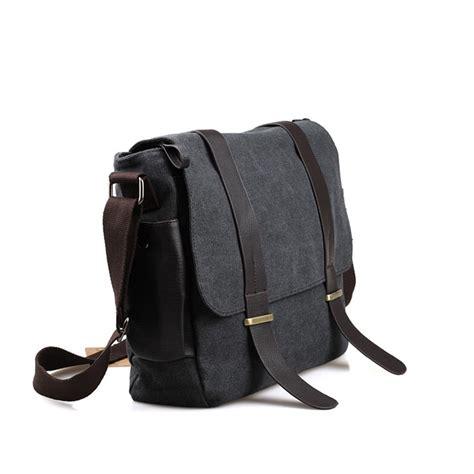 selempang bag tas selempang pria korean canvas messenger bag black