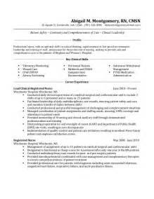 critical care resume sle
