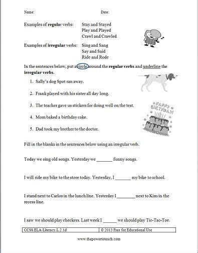 free irregular verbs worksheet for second grade common