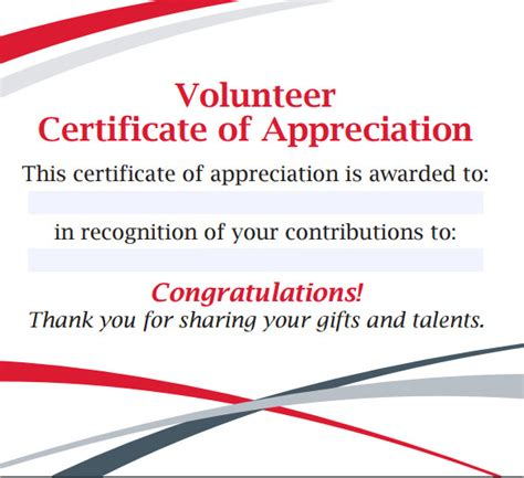 volunteer certificate of appreciation template sle volunteer certificate template 10 free documents