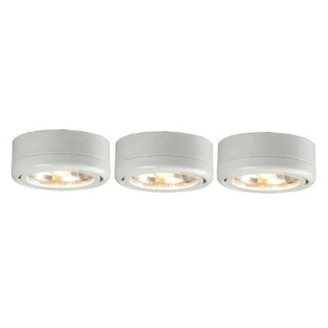 Commercial Electric 3 Light White Under Cabinet Puck Kit Home Depot Cabinet Lights