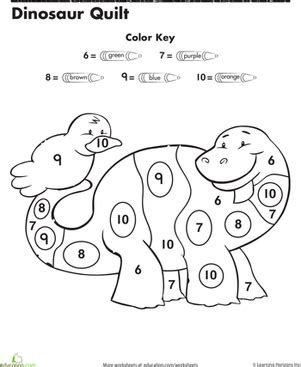 color by number preschool dinosaur color by number worksheet education