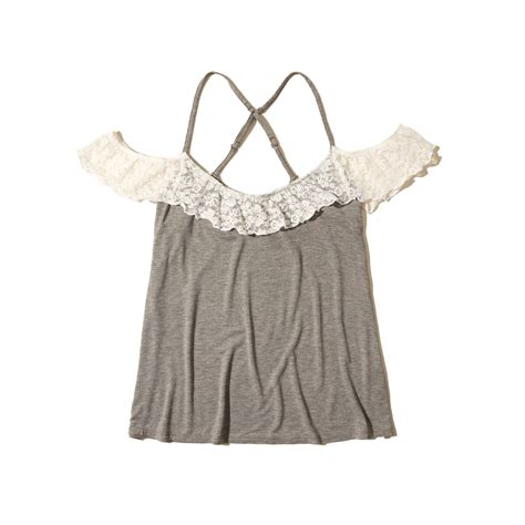 Lace Shoulder Top Hollister lyst hollister lace ruffle cold shoulder top in gray