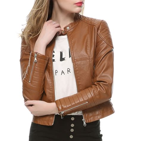 ladies brown leather biker 2018 fashion women elegant zipper faux leather biker
