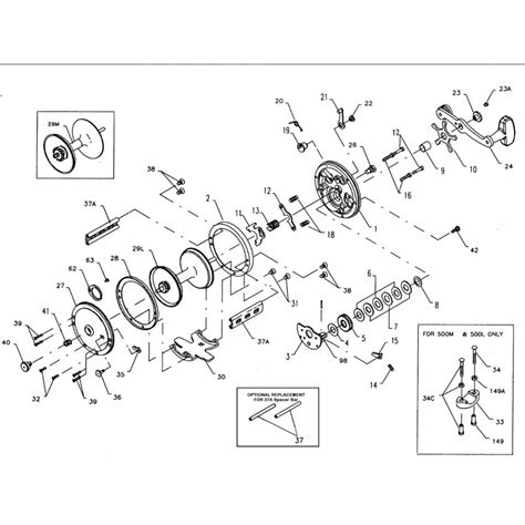 penn reel parts diagram 500 500l jigmaster penn conventional overhead reels
