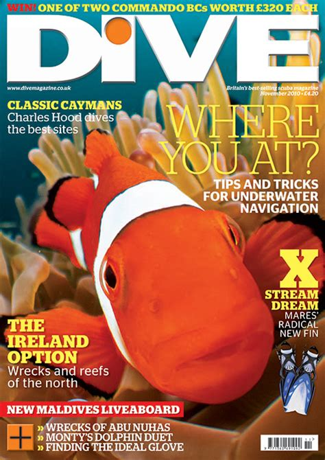 dive magazine inon bug eye lens produces cover image for dive magazine