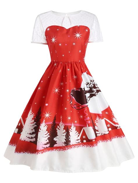 red s santa claus deer vintage christmas dress rosegal com