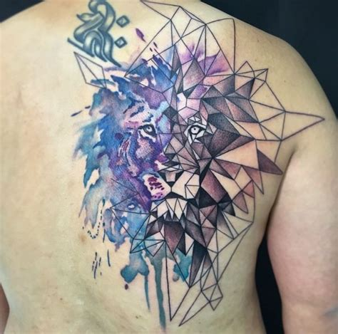 watercolor tattoo oslo on geometric and