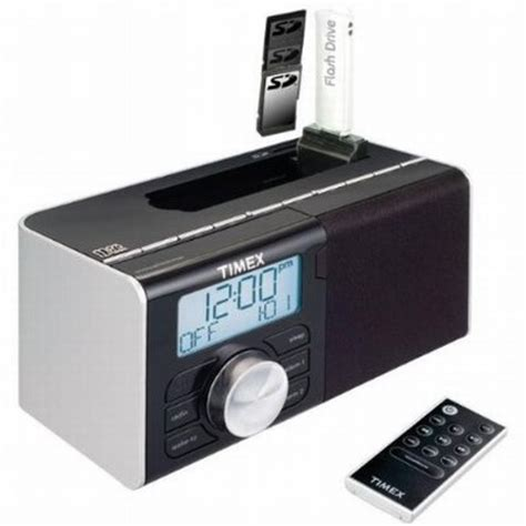 dual alarm clock radio for flashdrive sd card or any ipod mp3 cd or cassette audio playe