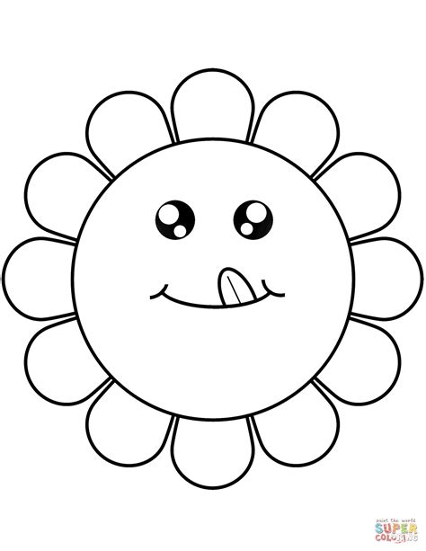 printable cartoon flowers cartoon flower face coloring page free printable