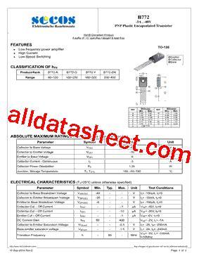 transistor b772 pdf b772 15 datasheet pdf secos halbleitertechnologie gmbh