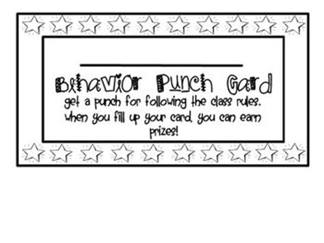 classroom punch card template 22 best punch cards images on behavior punch