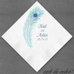 wedding napkins peacock plume personalized wedding napkins
