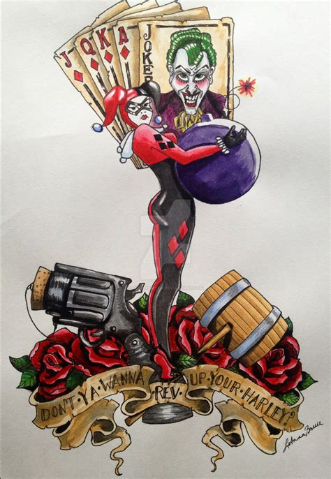 harley quinn joker tattoo harley quinn traditional style by skellykitten on