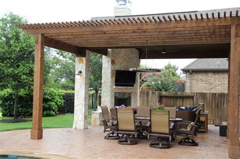 Kitchen Cabinets In Houston by Outdoor Living Project Patio Cover With Fireplace