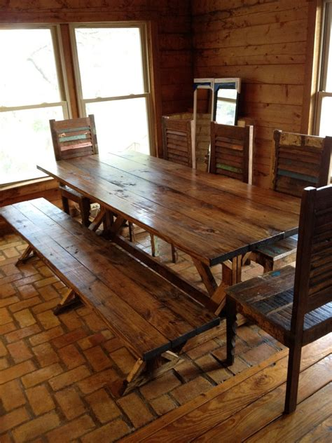 rustic dining room table with bench marceladick com