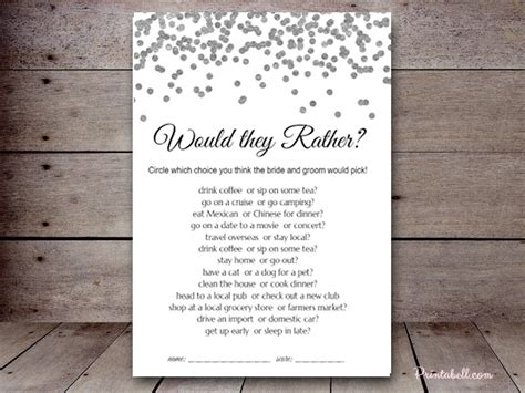 Would They Rather Bridal Shower Printabell Create Would They Rather Bridal Shower Template