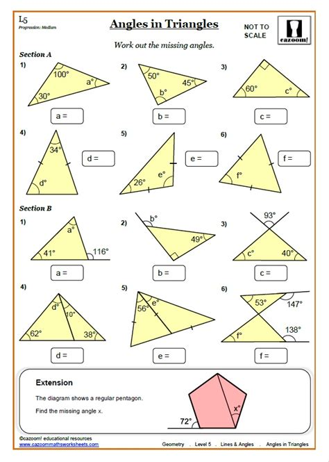 finding missing angles of a triangle worksheet lines and angles worksheet answers ks3 and ks4 angles worksheet