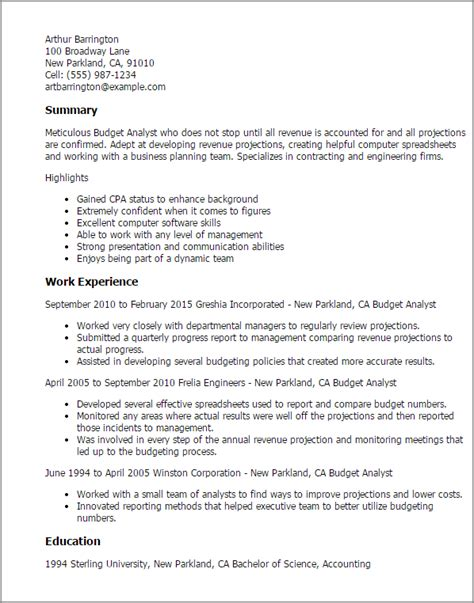 Budget Analyst Resume by Professional Budget Analyst Templates To Showcase Your