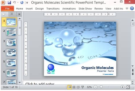 Organic Molecules Scientific Powerpoint Template Best Powerpoint Templates Science Presentations