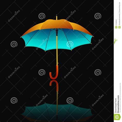umbrella layout vector umbrella with reflection on black background stock