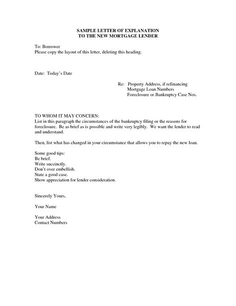 Sle Letter Of Explanation For Mortgage Out Letter Of Explanation Sle Writing Professional Letters