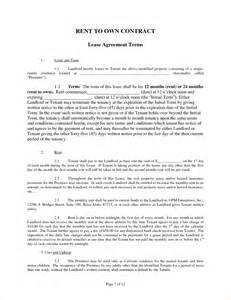 Rent To Own Agreement Template by 4 Rent To Own Agreement Templatereport Template Document