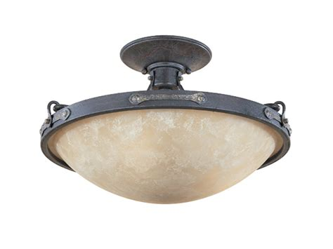 Three Light Ceiling Fixture Weathered Saddle Three Light Lighting Semi Flush Ceiling Fixture