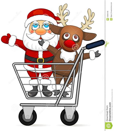santa claus and reindeer in shopping cart royalty free