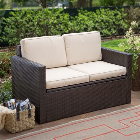 loveseat outdoor furniture coral coast berea outdoor wicker storage loveseat outdoor sofas loveseats at hayneedle