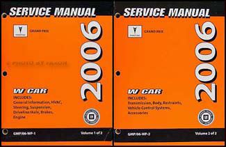 old car repair manuals 2006 pontiac grand prix user handbook 2006 pontiac grand prix repair shop manual original 2 volume set