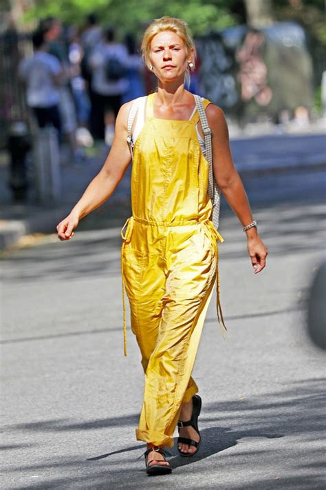 claire danes yellow jumpsuit claire danes in yellow jumpsuit out in nyc