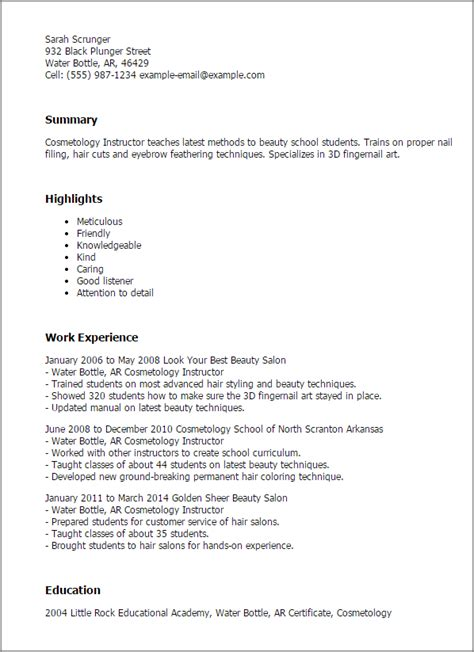 Pre K Resume Exle by Professional Cosmetology Instructor Templates To Showcase