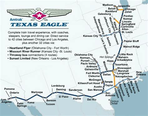 amtrak map texas all aboard the texas eagle