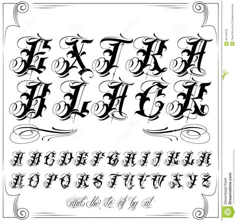 tattoo fonts modern black lettering stock vector illustration of