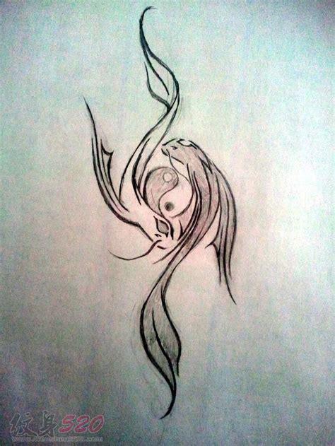 阴阳鱼纹身手稿 黑灰的阴阳鱼纹身手稿