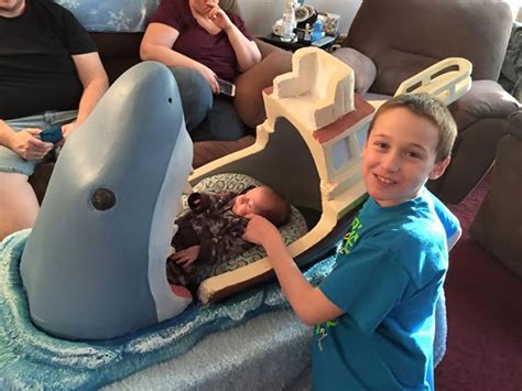 baby shark movie uncle makes jaws inspired crib for his 2 month old nephew