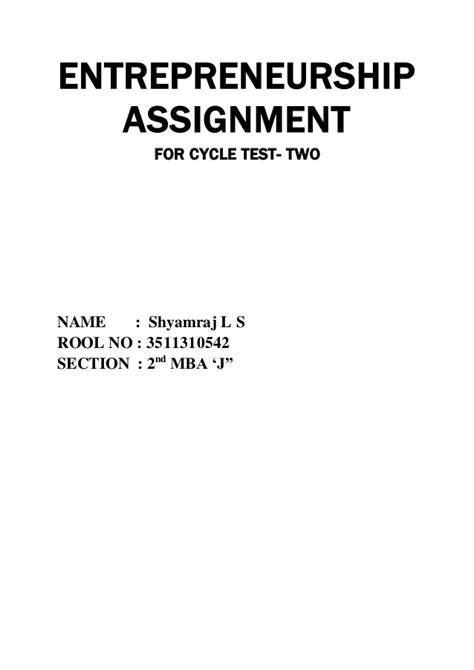 Entrepreneurship Management Notes For Mba by Entrepreneurship Question And Answer