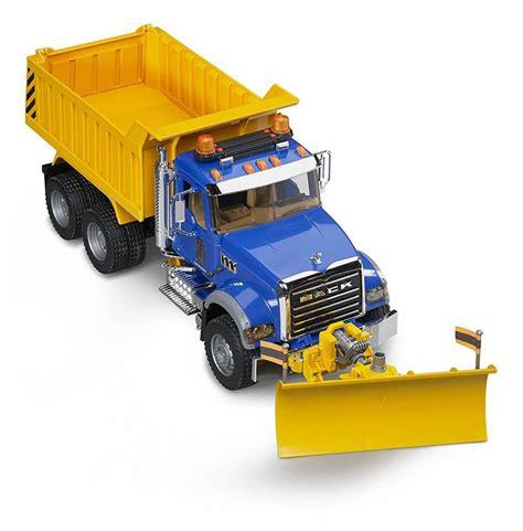 bruder trucks bruder mack dump truck w snow plow minds alive toys