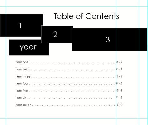 Table Of Contents For Blurb Photoshop Table Template