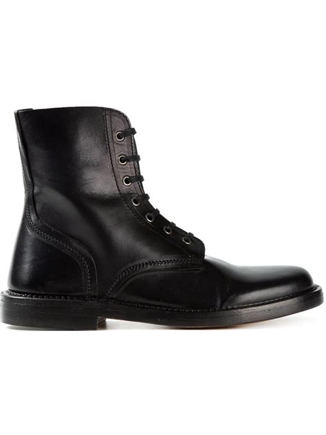 mcqueen boots mcqueen lace up combat boots in black for lyst