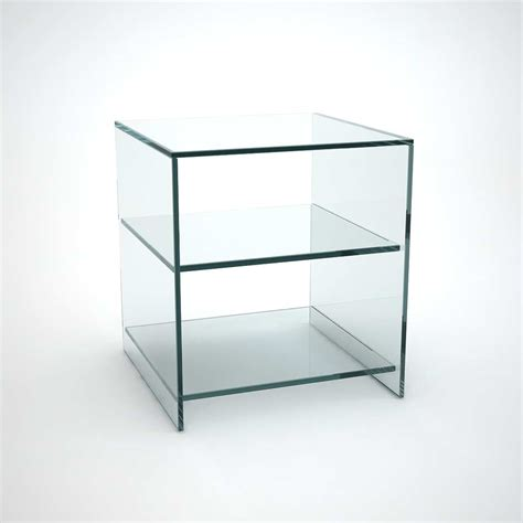 Glass Furniture Judd Glass Side Table With Shelves Klarity Glass Furniture