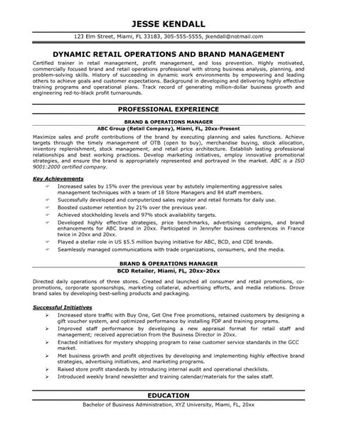 Resume Exles Management by Operations Manager Resume