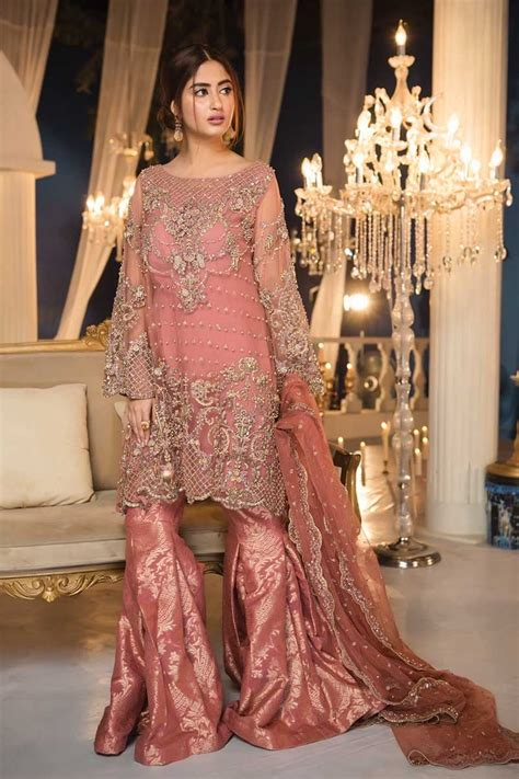 maria b bridal collection wedding and formal dresses colorful embroidered frocks for girls fashion pakistan maria b couture latest fancy formal wedding dresses 2018 19
