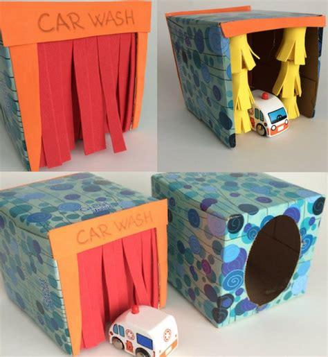 easy crafts     tissue box toy car wash craft